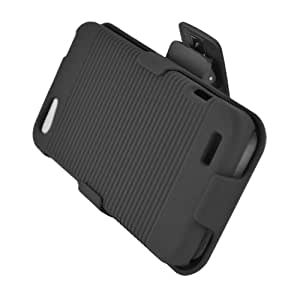 Aimo Wireless HTCONEVPCBEC001 Shell Holster Combo Protective Case for HTC One V with Kickstand Belt Clip and Holster - Retail Packaging - Black
