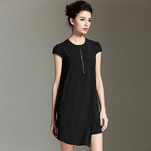 Vestido Swing Shirt Suelto T Primavera Gran ZHUDJ Verano black Y El Mujer La Vestido BPqpwqg1v