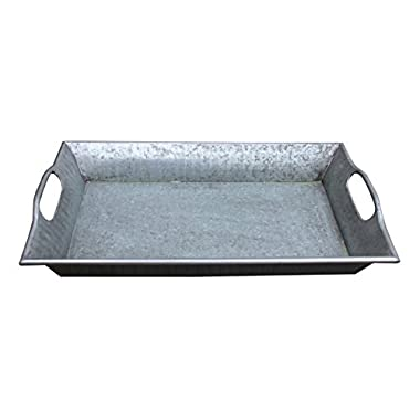 Hills Parks 17  x 11  x 2.5  Rectangular Vintage Style Decorative Metal Tray with Built-in Handles