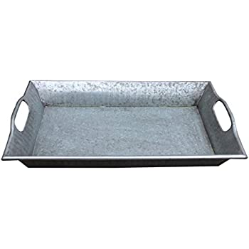 """Hills Parks 17"""" x 11"""" x 2.5"""" Rectangular Vintage Style Decorative Metal Tray with Built-in Handles"""