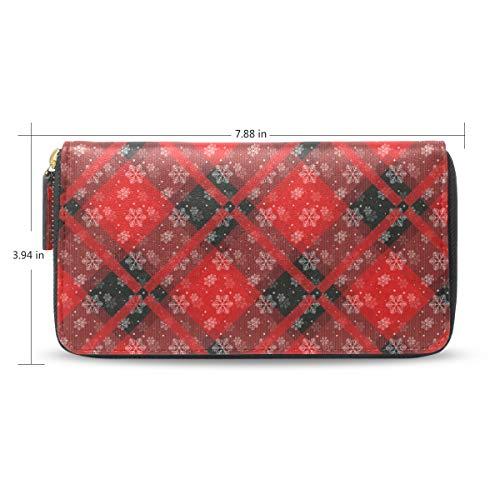 Women Red Plaid Snowflake Ornament1 Leather Wallet Large Capacity Zipper Travel Wristlet Bags Clutch Cellphone Bag