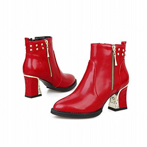 Carolbar Donna Con Cerniera Borchiato Moda Rivetto Eleganza Charms Alto Tacco Chunly Corto Stivaletti Rosso