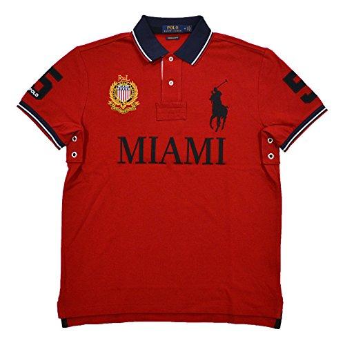 Polo Ralph Lauren Mens Custom Slim Fit Mesh City Polo Shirt (Small, Red Miami) (Polo Mens Crest)