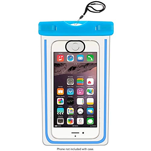 MRProdux Universal Waterproof Phone Pouch with Fingerprint Reader Compatible with iPhone, Samsung Galaxy, 6.5 Inch, Blue (Fingerprint Scanner Iphone)