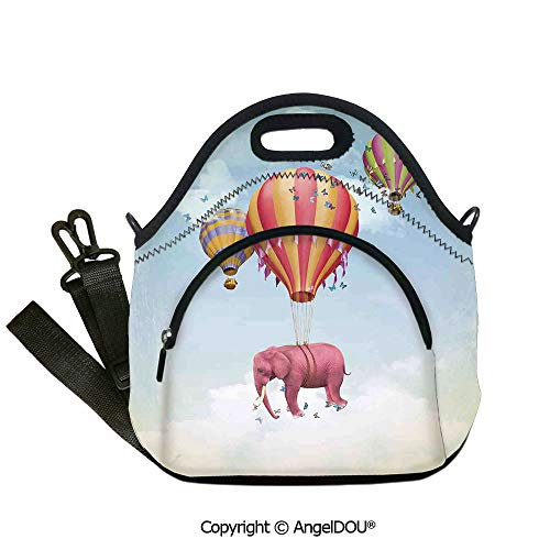 (AngelDOU Elephants Decor waterproof insulation portable lunch box bag Pink Elephant in the Sky with Balloons Illustration Daydream Fairytale Travel Decorative insulation cold por12.6x12.6x6.3(inch))
