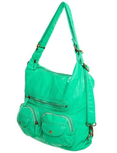 Backpack Creations way Purse by Leather 3 Aqua Ampere Convertible Crossbody Vegan amp; qHpZA