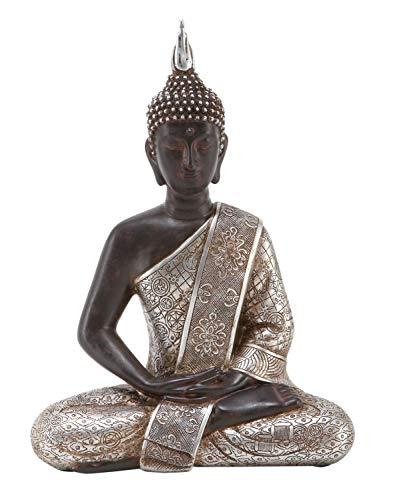 "Deco 79 Tibet Buddha Dhyana Mudra with Silver Robe Polyresin, 11"" H"