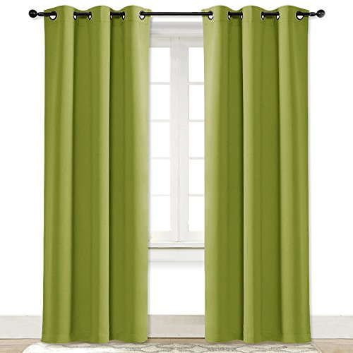 NICETOWN Green Curtain for Bedroom 84 inches Window Treatment Thermal Insulated Solid Grommet Blackout Drapery/Drape for Doors (1 Panel, 42 Wide by 84 Long, Fresh Green) ()