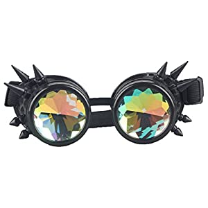 Kaleidoscope Rave Rainbow Crystal Lenses Steampunk Goggles Spike Halloween