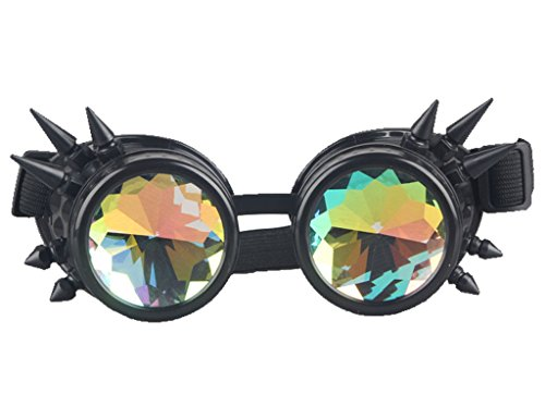 Kaleidoscope Rave Rainbow Crystal Lenses Steampunk Goggles Spike Halloween 3