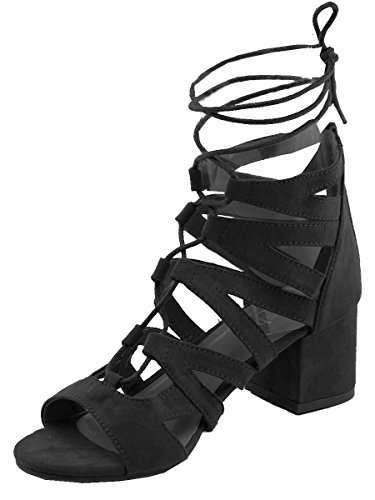 Heel Gladiator Sandals (Refresh Footwear Women's Gladiator Strappy Ankle Wrap Block Heel Sandal (8 B(M) US, Black))