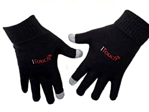 iTouch Touchscreen Gloves Collection for Men (Black with Embroidery)