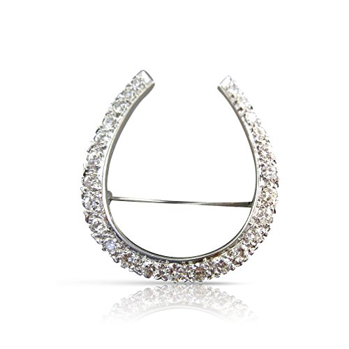(Milano Jewelers LARGE 1.67CT DIAMOND PLATINUM 3D PAVE LUCKY HORSESHOE PIN BROOCH #21886)