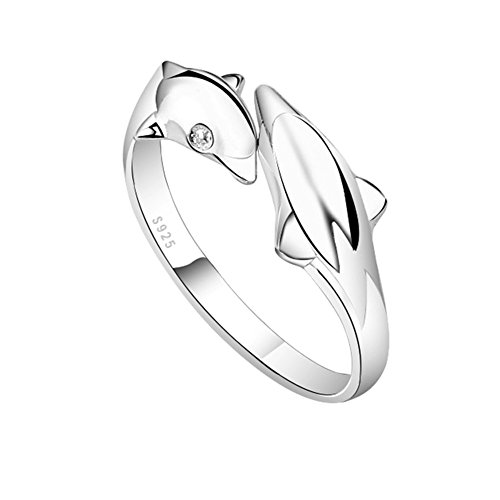 TomSunlight 925 Sterling Silver Women's Lovely Dolphin Ring Adjustable Finger Opening Rings (Ring Dolphin Ladies)