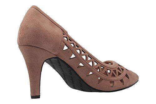 Andres Machado - Zapatos de vestir de tela para mujer color carne