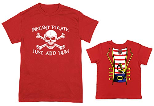 HAASE UNLIMITED Instant Pirate, Just Add Rum/Pirate Costume 2-Pack Toddler & Men's T-Shirt (Red/Red, XXX-Large/2T) ()
