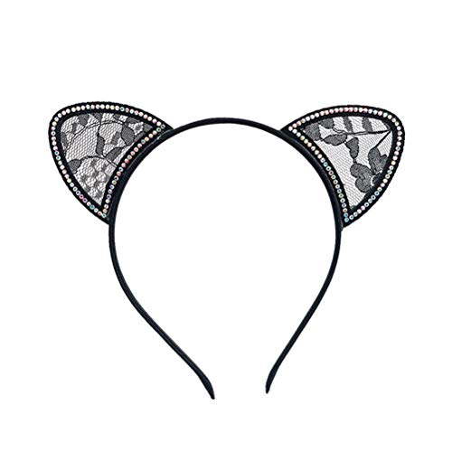 STOBOK Cat Ears Headbands with Lace Rhinestone Decor Kitty Cats Ears Hair Hoops for Birthday Cosplay Costume Party Favor Hair Accessory Kids Girls Adults (Black) ()