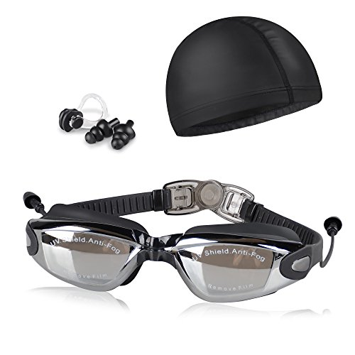 Peacoco Swim Goggles,Swimming Goggles Anti Fog No Leaking UV Protection with PU Swim Cap,Earplugs,Nose Clips and Case for Men Women Adult Youth Kids Child - Cap Best Type Of Swim