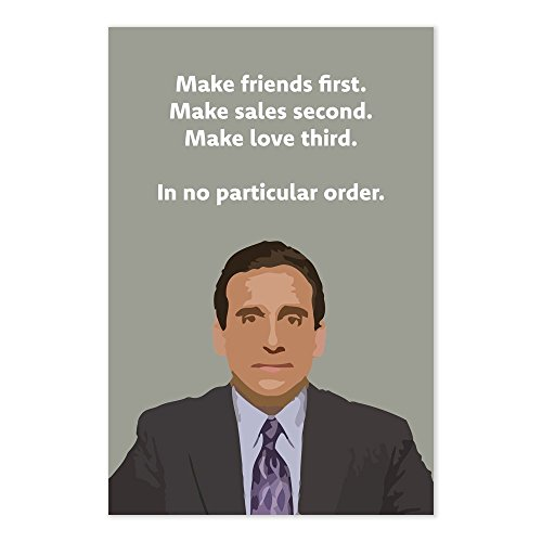 Funny Michael Scott-ism Quote Poster - Make Friends First, M