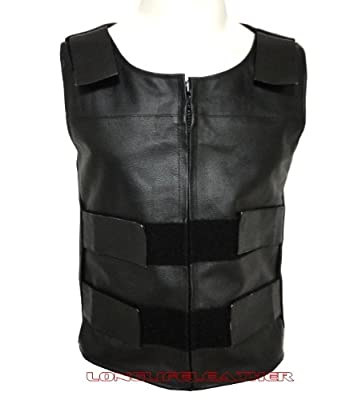 Men's Leather Bullet Proof Style Velcro Motorcycle Biker Vest New All Sizes