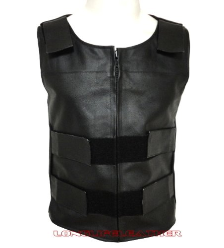 4XL 4Fit Mens Bullet Proof Style Motorcycle Biker Leather Vest-Black Small to 6XL