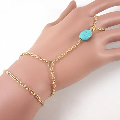 Voberry Elegant Womens Metal Hand Harness Chain Turquoise Bead Slave Finger Ring Bracelet (Gold)