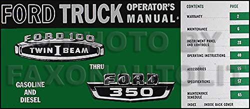 1966 Ford F100-F350 Pickup Truck Owner's Manual Reprint