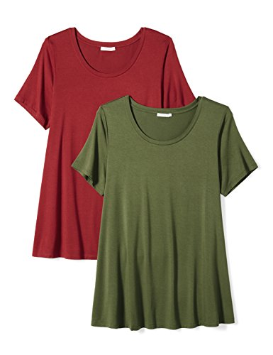 Daily Ritual Women's Plus Size Jersey Short-Sleeve Scoop Neck Swing T-Shirt, 2-Pack, 6X, Cypress Green/Deep Red