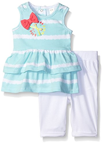 Petit Lem Girls' Baby 2 Piece Set Tunic and Legging-Stripe, El, 6 Months ()