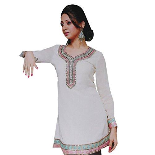 (Jayayamala Pure White Georgette Tunic Full Sleeve Top Dress (m))
