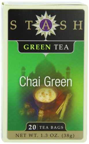 Stash Tea Green Chai Tea, 20 Count Tea Bags in Foil (Pack of 6)