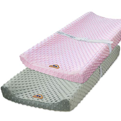 BlueSnail Ultra Soft Minky Dot Chaning Pad Cover 2 Pack (Gray+Pink, 2 Pack)