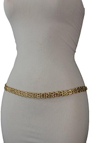TFJ Women Fashion Belt Hip High Waist Metal Chain Links Plus M L XL Gold - Link Hip Belt