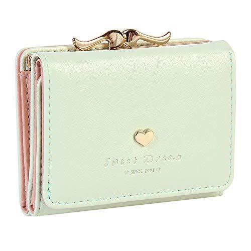 Damara Womens Metal Frame Kiss-lock Small Clutch Cards Holder Wallet,Light Green
