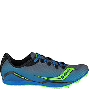 Saucony Men's Vendetta Track Spike Racing Shoe, Grey/Blue/Slime, 13 M US