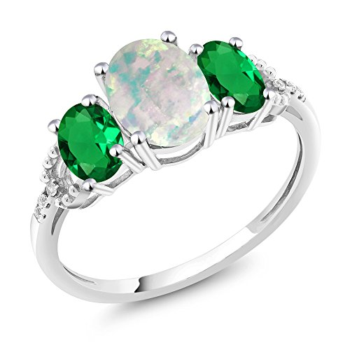 10K White Gold Diamond Accent Three-Stone Engagement Ring set with 1.90 Ct Cabochon Simulated Opal & Simulated Emerald (Available in size 5, 6, 7, 8, (Gold Opal Emerald Ring)