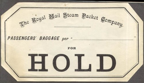 Royal Mail Steam Packet Company Passengers Baggage HOLD label ca 1930s