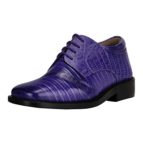 Liberty Boys Gliders Genuine Leather Crocodile Print Lace up Dress Shoes (Size 9 US/Age 1-4 Years/Toddler, Purple)]()
