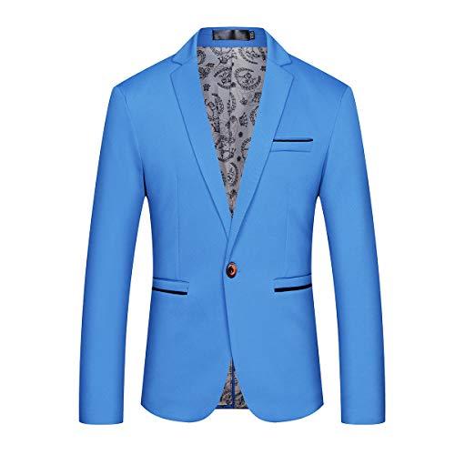 Mens Slim Fit Sport Coat Casual One Button Solid Color Jacket Blazer Blue