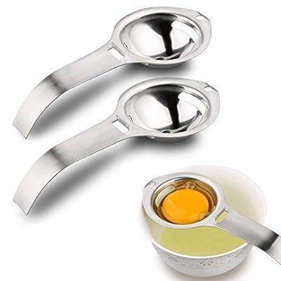 2 Pieces Egg Separator, Stainless Steel Egg White Yolk Filter