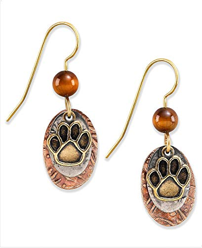 Silver Forest of Vermont Paw Print and Tiger's Eye Dangle Earrings