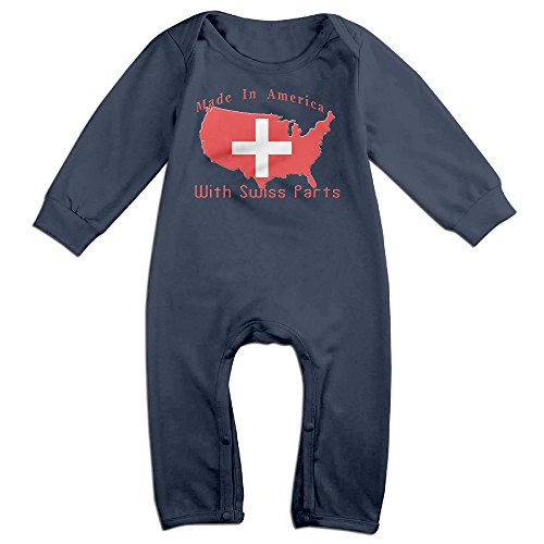 Made In America With Swiss Parts Unisex Navy Onesie Coverall 6-24 Months