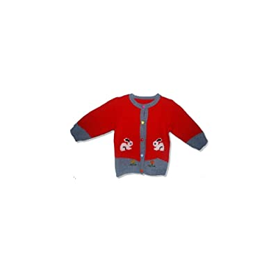 f3eb7d81e Hand Made Knit Wool Sweater with two Cats for Girls in Red (3-4
