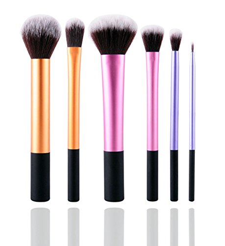 6pcs Makeup Brushes Powder Foundation Eyeshadow Eyeliner Brush (Black+ Red) - 4