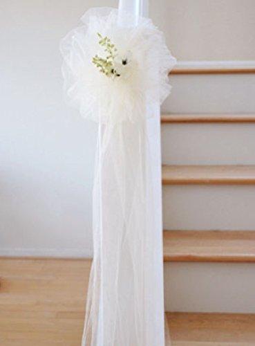 10 pcs Ivory TULLE NET WEDDING PEW BOWS BRIDAL DECOARTION by nugroho_cak