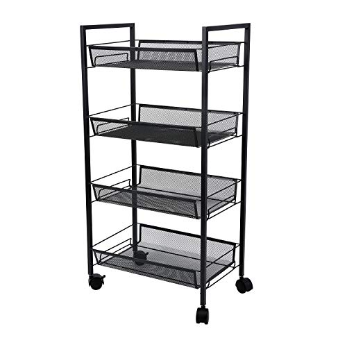 (4-Tier Mesh Wire Rolling Cart Multifunction Utility Cart Office Home Kitchen Storage Cart on Wheels, Steel Wire Basket Shelving Trolley,Easy Moving (Black))