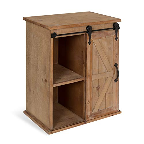 Kate and Laurel Cates Wooden Freestanding Storage Cabinet Side Accent Table with Sliding Barn Door, Rustic Brown Finish