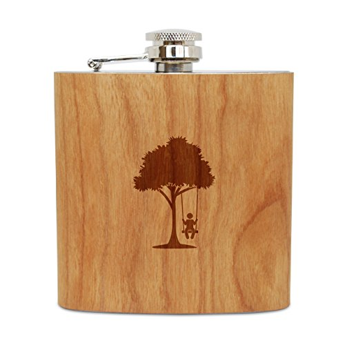 WOODEN ACCESSORIES COMPANY Cherry Wood Flask With Stainless Steel Body - Laser Engraved Flask With Tree Swing Design - 6 Oz Wood Hip Flask Handmade In USA