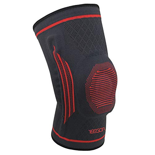 YEEGOR Knee Brace Compression Sleeve – Knee Support Meniscus Tear Injury Recovery ACL Pain Relief Arthritis Running with Side Stabilizers for Men & Women Single