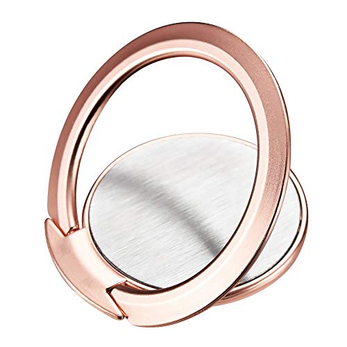 Icarerease Phone Ring Stand,Ultra Slim 360 Rotation Finger Grip Ring Holder Work Well with Car Magnetic Mount for iPhone Samsung Galaxy (Rose Gold)